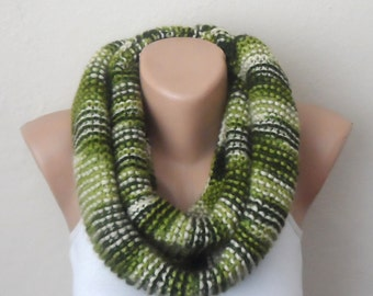 green knit infinity scarf  multicolor scarf mealy circle scarf winter scarf wrap shawls