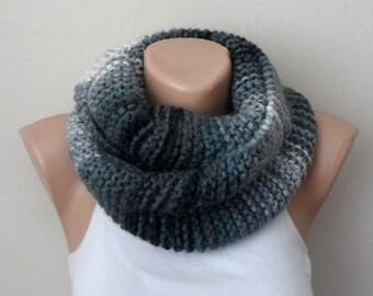 gray knit infinity scarf multıcolor circle scarf winter scarf wrap shawls loop scarf handmade scarf