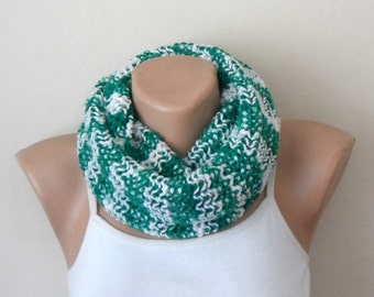 green white knit infinity scarf multicolor circle scarf winter accessories loop scarf fashion scarves gift for her