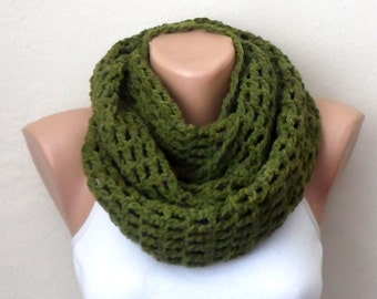 green knit infinity scarf green crochet scarf winter scarf knit scarf loop scarf fashion accessories gift for her