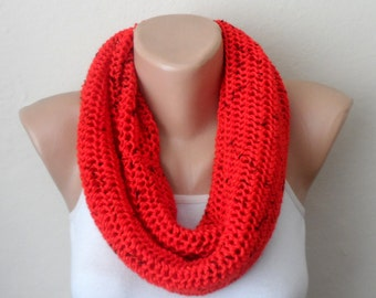 red knit infinity scarf red black the mealy circle scarf knitting scarf knit winter  gift for her