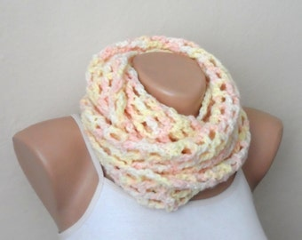 yellow pink knit infinity scarf  multicolor circle scarf crochet scarf winter scarf wrap