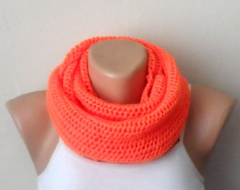 orange knit infinity scarf orange circle scarf loop scarf winter scarf gift for her
