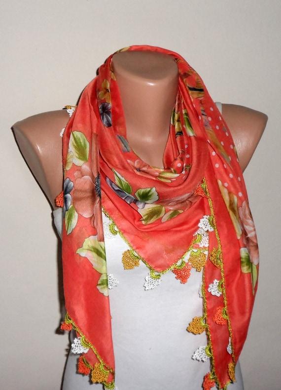 cfe3904c74b8 foulard orange fleur foulard coton foulard turque oya yéménite écharpe  femme fait à la main foulard mode accessoires cadeau pour elle