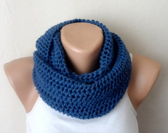 blue knit infinity scarf  blue circle scarf winter scarf women scarf knit circle scarf gift for her