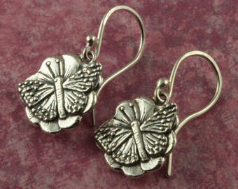 Sterling Silver Butterfly Earrings – Sterling Silver Earrings – Sterling Butterfly Flower Earrings – Butterfly Jewelry – Sterling Earrings