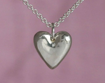 Sterling Silver Heart Charm, Sterling Silver Heart Necklace, Heart Charm Necklace, Heart Pendant Necklace, Sterling Silver Charm Necklace