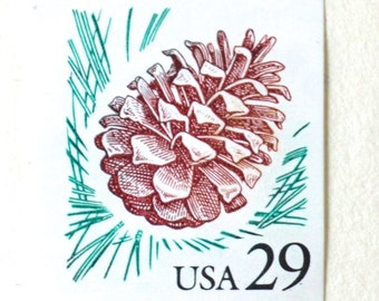 10 Vintage Pinecone Postage Stamps Unused 29 Cent Pine Tree Pine Cone Stamps for Mailing Cards and Wedding Invitations