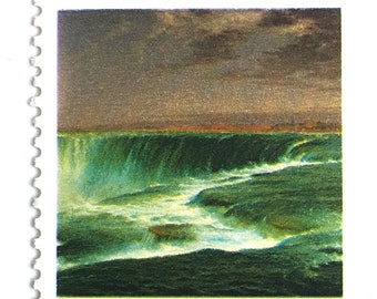 5 Unused Niagara Falls Stamps // Vintage Niagara Falls Postage // Frederic Edwin Church Painting // New York Waterfall Stamps for Mailing