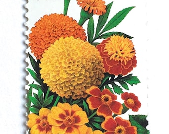 10 Vintage Marigold Flower Stamps // Garden Bouquet Unused Postage // Colorful 29 Cent Flower Stamps for Mailing
