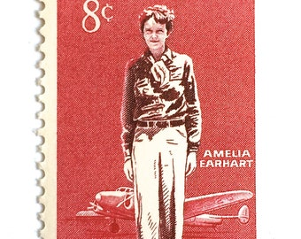 10 Vintage Amelia Earhart Postage Stamps // 8 Cent Vintage Red Aviatrix Pilot Stamps for Mailing