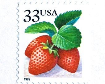 10 Unused Strawberry Stamps // 33 Cent Vintage Strawberry Postage Stamps // Vintage Red Berry Stamps for Mailing