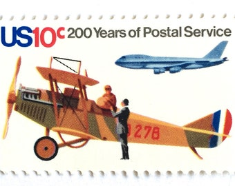 10 Unused Airplane Postage Stamps // Vintage US Postal Service Air Mail Stamps // 10 Cent Stamps for Mailing