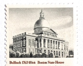 10 Black and White Boston Vintage Postage Stamps // Boston State House // Massachusetts Architecture 15 Cent Stamps for Mailing