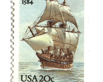 10 Vintage Sailing Ship Stamps Unused Nautical 20 Cent Postage Stamps Sea Sailing Vessel Postage for Mailing