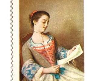 10 Unused Vintage Postage Stamps // Old World Fine Art Postage // 10 Cent Neutral Palette Stamps // Postage for Mailing Wedding Invitations