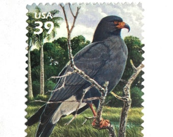 10 Gray Wetland Bird Stamps // Unused 39 Cent Postage // Florida Wetlands Snail Kite Hawk // Postage Stamps for Mailing