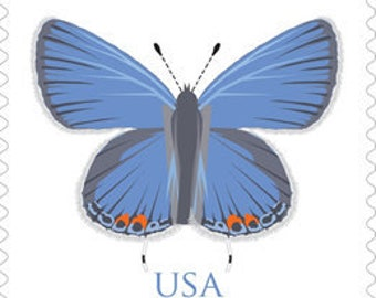 10 Blue Butterfly 88 Cent Postage Stamps 88 Cent Butterfly Unused Stamps For Mailing Extra Ounce Wedding Invitations