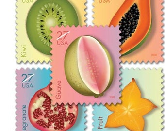 5 Tropical Fruit Stamps // 27 Cent Vintage Tropical Postage Stamps // For Mailing Wedding Invitations or Cards