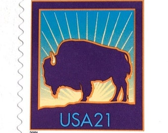 10 Buffalo Postage Stamps Unused Vintage 21 Cent American Bison Stamps for Mailing