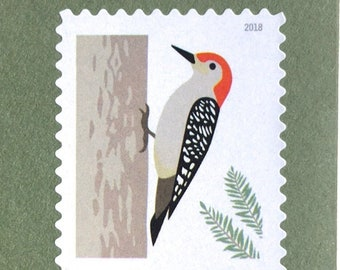 10 Woodpecker Forever Stamps Evergreen Pine Tree Redheaded Postage for Invitations Cards Unused Woodpecker Forever Stamps for Mailing