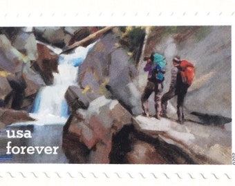 10 Unused Forest River Forever Stamps  Nature Scene Postage  Andrew Wyeth Painting  Wilderness Waterfall Forever Stamps for Mailing