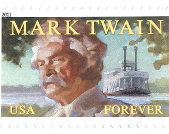 10 Mark Twain Forever Stamps Unused Postage Tom Sawyer Huckleberry Finn Riverboat Steamboat Author Stamps for Mailing
