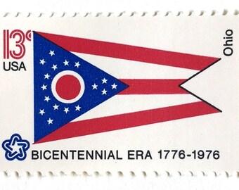 10 Ohio Flag Postage Stamps Unused Vintage 13 Cents 1976 Ohio State Flag Postage Stamps for Mailing