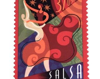 5 Salsa Dancing Postage Stamps Unused Latino Puerto Rican Cuban Music Bailemos Ballroom Dance Stamps for Mailing