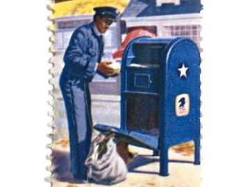 5 Vintage Mail Man Stamps Vintage Blue Mailbox Postman Letter Carrier Letter Writing Postal Service Stamps Unused for Mailing