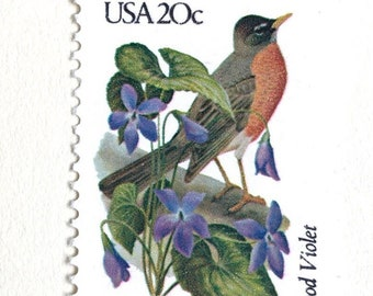 10 Wisconsin Vintage Postage Stamps Unused Robin & Wood Violet Wisconsin State Bird and State Flower Stamps for Mailing