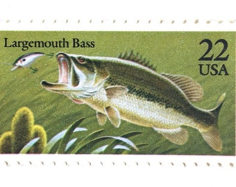 10 Largemouth Bass Postage Stamps Unused Vintage Green Bass Lake Fishing Stamps for Mailing