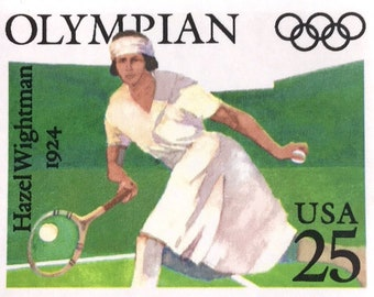 5 Vintage Tennis Stamps Olympic Medalist Hazel Wightman Tennis Player Green Unused Stamps for Mailing