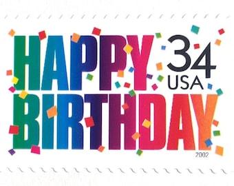 10 Vintage Happy Birthday Postage Stamps Unused 34 Cent Party Stamps Birthday Postage Stamps for Mailing