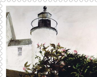 10 Lighthouse Forever Stamps // New England Lighthouse // Andrew Wyeth Art // Nautical Postage Stamps for Wedding Invitations and Cards