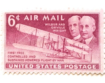 10 Vintage Pink 1949 Air Mail Postage Stamps // Wright Brothers Air Mail Stamps // Unused 6 Cent Vintage Stamps for Mailing