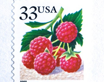10 Unused Raspberry Stamps // 33 Cent Vintage Raspberry Postage Stamps // Vintage Berry Stamps for Mailing