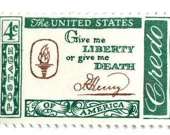 10 Patrick Henry Quote Postage Stamps // 1961 Green and White Vintage 4 Cent Colonial Postage Stamps for Mailing