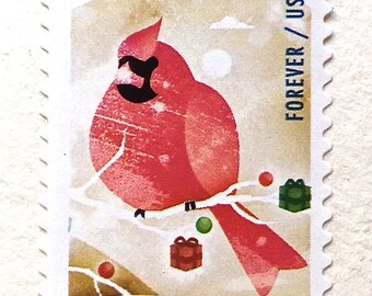 5 Unused Cardinal Forever Stamps // Christmas Cardinal Postage Stamps // Winter Fun Forever Stamps for Mailing