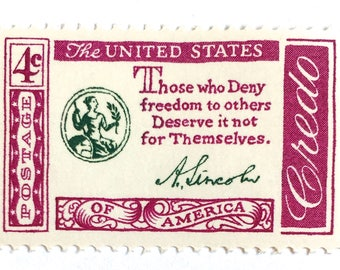 10 Unused Lincoln Quote Postage Stamps // 1958 Vintage 4 Cent Postage Stamps for Mailing