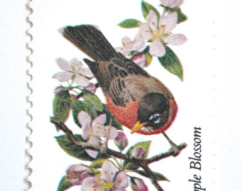 10 Unused Michigan Vintage Postage Stamps Robin Apple Blossom State Bird And Flower
