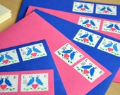 Love Bird Postage Stationery, Blue Bird Pink Heart Postal Love Letters