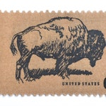 10 Unused Buffalo Postage Stamps // Brown Wildlife Conserviation Vintage American Bison Stamps for Mailing