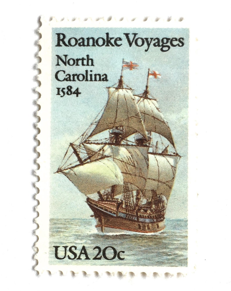 10 Vintage Sailing Ship Stamps Unused Nautical 20 Cent Postage image 0