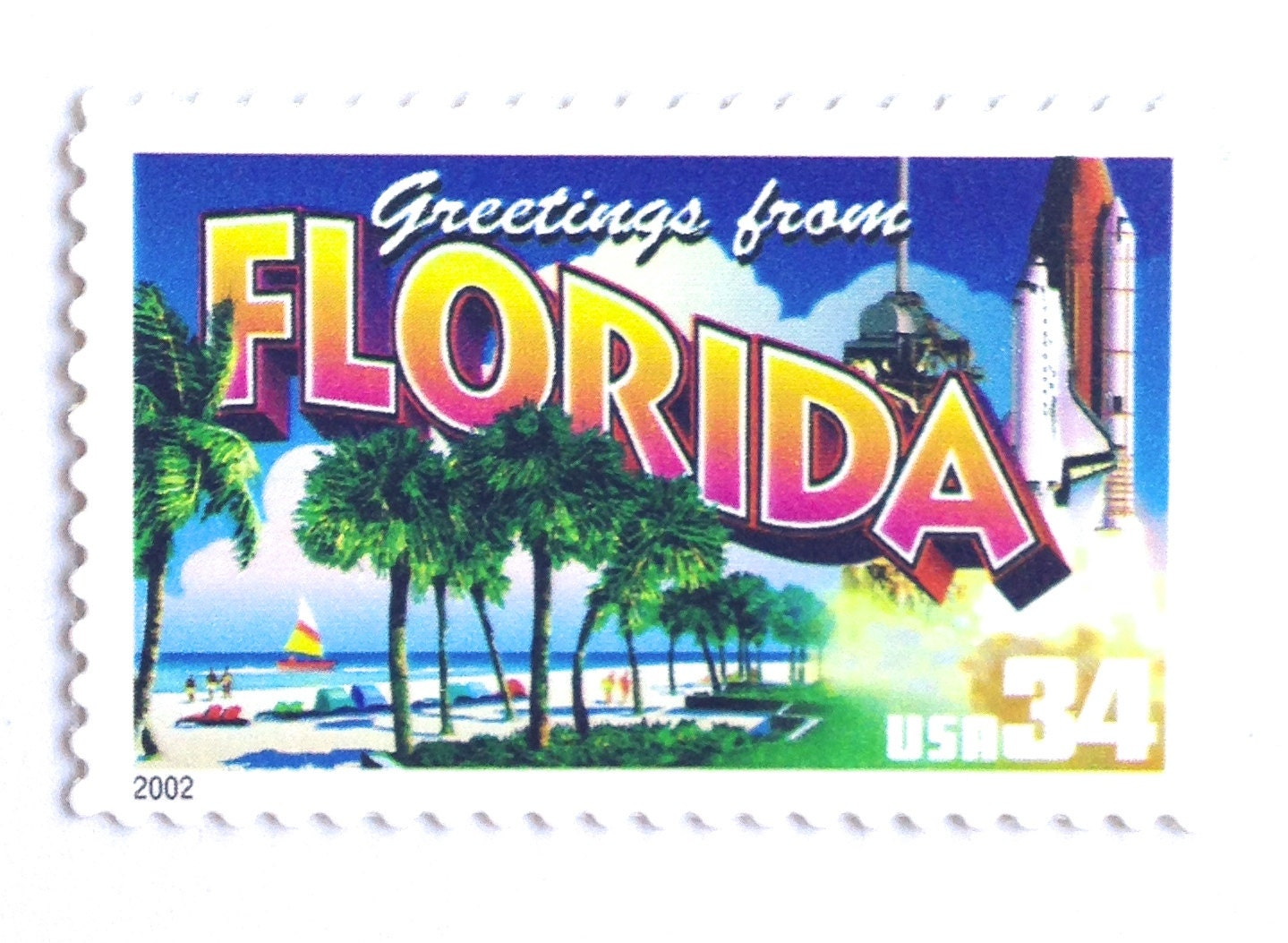 5 Unused Florida Vintage Postage Stamps Greetings From Florida Stamps Palm Tree Beach And Space Shuttle Stamps For Mailing