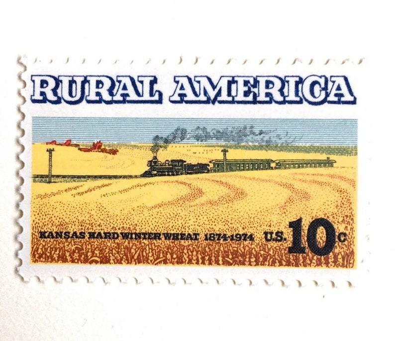 10 Vintage Railroad Postage Stamps // Rural America Steam image 0