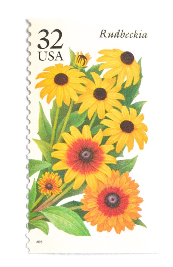 10 Vintage Black-eyed Susan Stamps  Unused Yellow Coneflower Postage  Rudbeckia Flower Stamps for Mailing