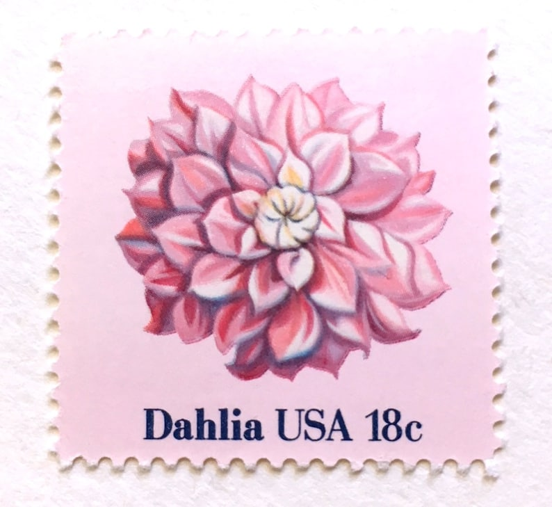 10 Pink Dahlia Flower 18 Cent Stamps Unused Vintage Floral image 0