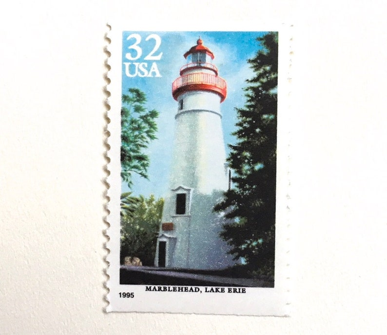 10 Lighthouse Stamps Vintage Nautical Postage Stamps Lake Erie image 0