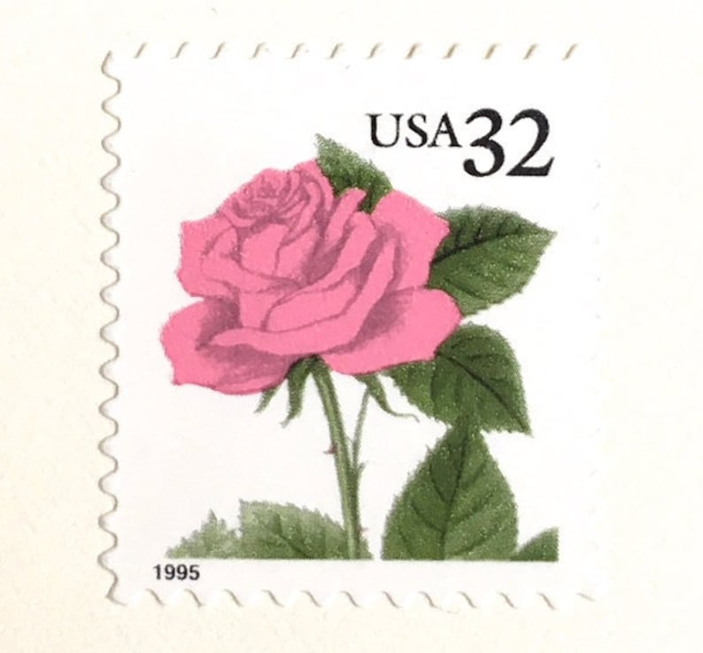 10 Vintage Pink Rose Postage Stamps // Unused 32 Cent Vintage image 0